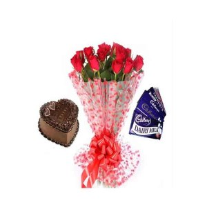 Dozen Red Roses Bouquet with Cake & Chocolates