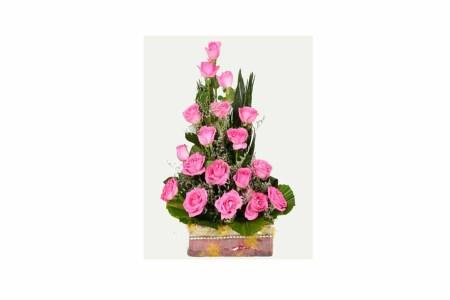 25 Pink Roses Basket Arrangement