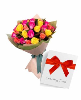 Special Mix Roses Bouquet with Card