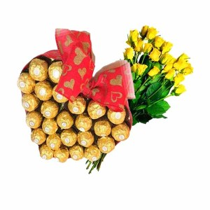Yellow Roses with Sweet Chocolates arrangement