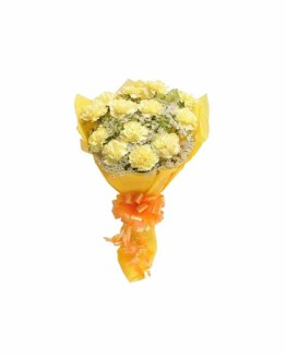 12 Yellow Carnations Hand Bunch