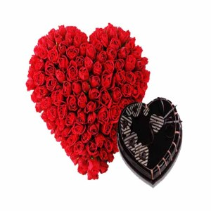 50 Red Roses Heart shape bouquet & Heart Shape Chocolate Cake
