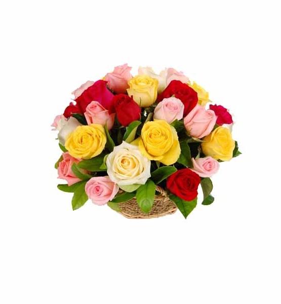Mix Roses Basket Arrangement