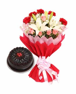 15+ Mix Flowers Special Bunch & Chocolate Cake