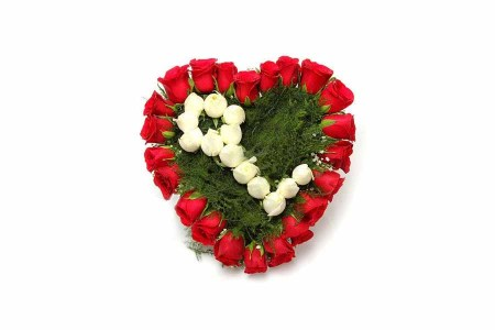 Red and White Roses Heart arrangement