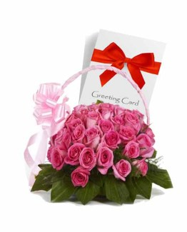 Pink Roses Basket with Greeting Card