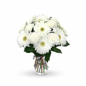 15 White Flowers (Gerberas & Carnations) Bunch