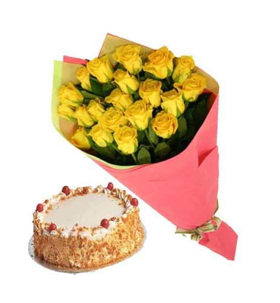 Special Yellow Roses bunch with Cake