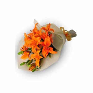 8 Orange Lilies Hand Bunch