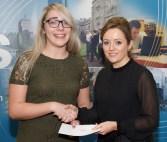 Lorraine Mulcahy receiving her prize from Linda Ryan, Bank of Ireland