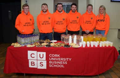 Fourth year BIS students pictured at the Business Information Systems (BIS) #MakeITWork information event for Leaving Cert students at UCC on Friday, May 12th.