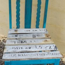 We made the chair from the crate that the slate came in..