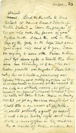 Copy of handwritten letter by Harry Boland in the Sighle Humphreys Papers UCDA P106