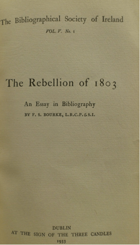 'The Rebellion of 1803' by F.S. Bourke