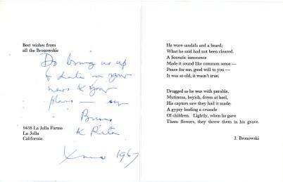 Poem written by Jacob Bronowski (UCDA LA52/41)