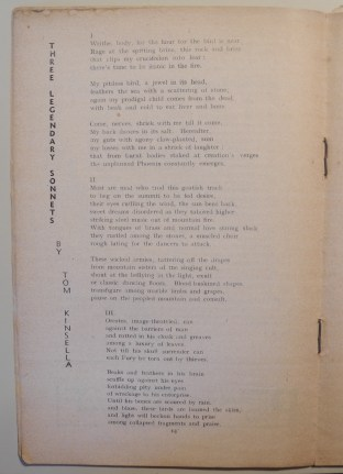 Three sonnets by Kinsella in 'The National Student'
