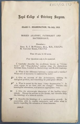 RCVI Morbid Anatomy exam paper from 1913 (UCDA RCVI/12/2)