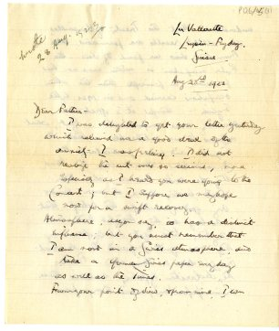 Letter written from La Vallerette, Leysin, Switzerland, 28 August 1923 (UCDA P126/45)