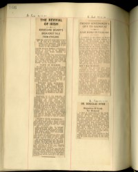 A newspaper article 'The Revival of Irish' from Irish Press, December 1935.