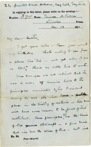 Letter from Eamon De Valera to his mother, 28 November 1918, pg1 (UCDA P150/173) Reproduced by kind permission of UCD-OFM Partnership.