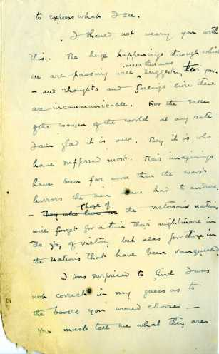Letter from Eamon De Valera to his wife Sinead on 11 November 1918, pg3 (UCDA P183/57)