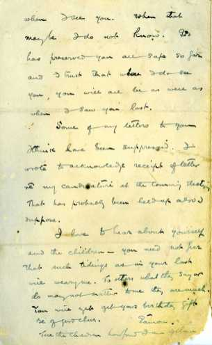 Letter from Eamon De Valera to his wife Sinead on 11 November 1918, pg4 (UCDA P183/57)