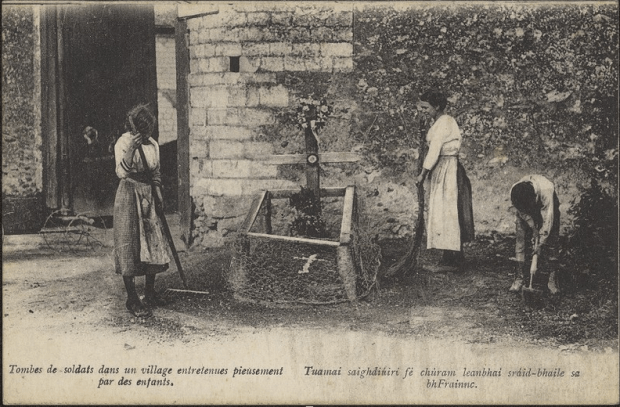 Tending a soldier's grave