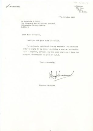 Reply from Hugh Leonard to a letter sent by the Commerce and Economic Society in UCD. Dated 7 October 1986 (UCDA SOC2/116 (1)