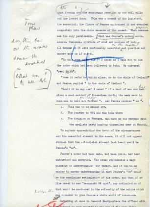 Page 4 of Mulcahy's account of Padraig Pearse in Arbour Hill Prison (UCDA P7/D/19).