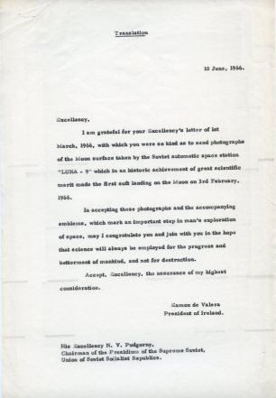Letter in English to Nikolai Viktorovich Podgorny. UCDA/P150/3403 Papers of Eamon de Valera. Reproduced by kind permission of UCD-OFM Partnership.