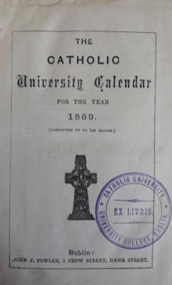 'Catholic University Calendar for the Year 1869'.