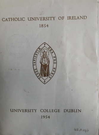 Programme of the Centenary Celebrations of the CUI in 1954.