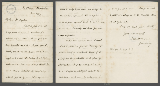 Letter to Dr Thomas Hayden