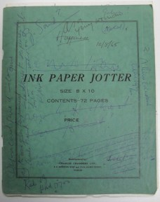 Notes on the cover of a notebook.