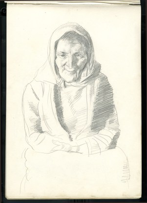 Coleman's pencil sketch of Anna Nic a'Luain.