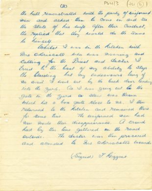 Fourth page of letter from T. Higgins about attack on the O'Driscoll house by Crown Force Marines, 13 December 1921 (UCDA P64/3 (74)
