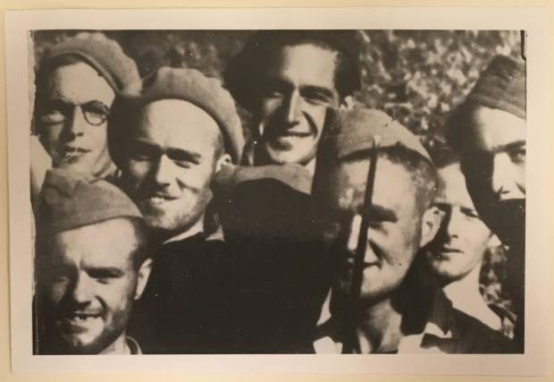 Downing (wearing glasses) poses with fellow brigade members in Marsa, Spain, 1938.