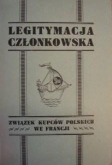 Fotokopia Legitymacji członkowskiej Związku Kupców Polskich we Francji