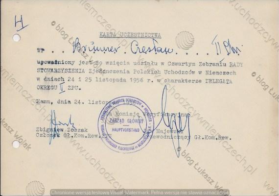 Czesław Brunner_karta delegata