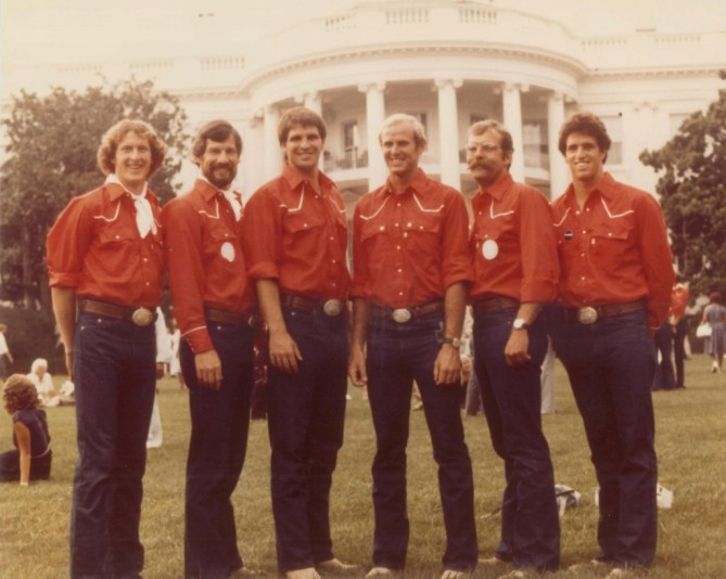 This photo is of all the UCI Athletes on the 1980 Olympic Team, taken on the South Lawn of the White House, 1980