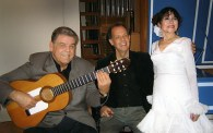 Image of Stamen, Patrick Lindley and Inesita after a concert in 2005 for the Harpsichord Center