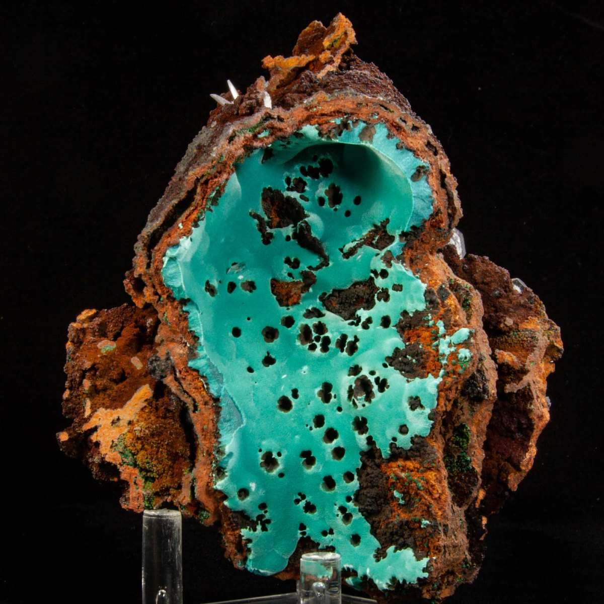 Rosasite with Hemimorphite and Calcite