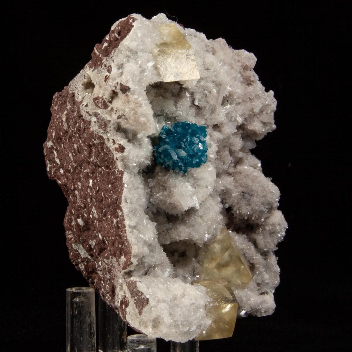 Cavansite with Stilbite and Calcite