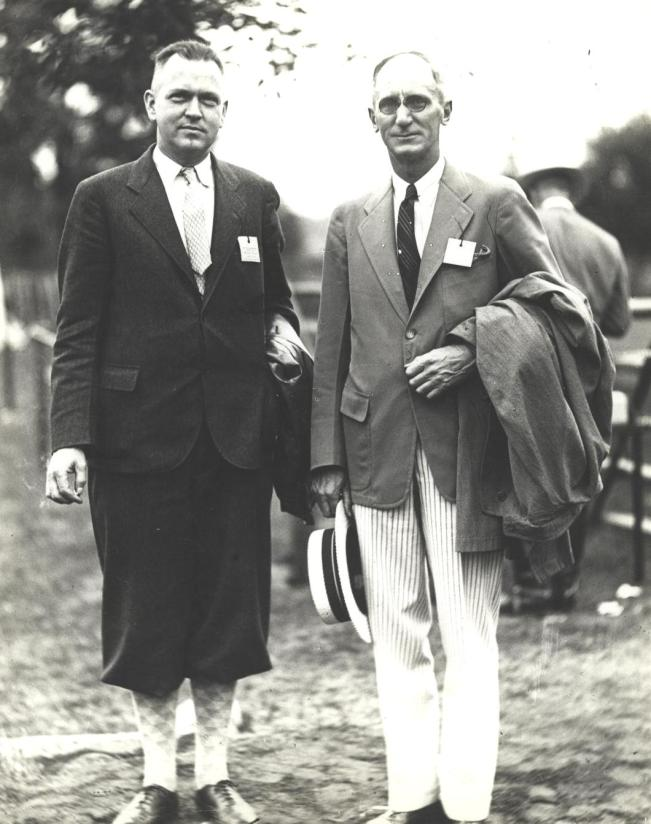 W.H. Tracy and Commissioner Caxton Brown at an annual horse show at the Watchung Riding Stable. Undated