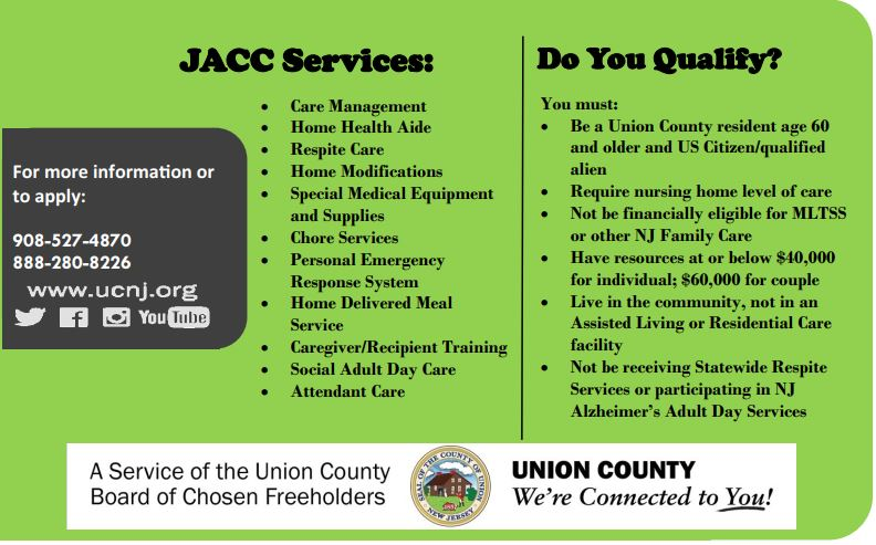 Caregiver Services – County of Union, New Jersey