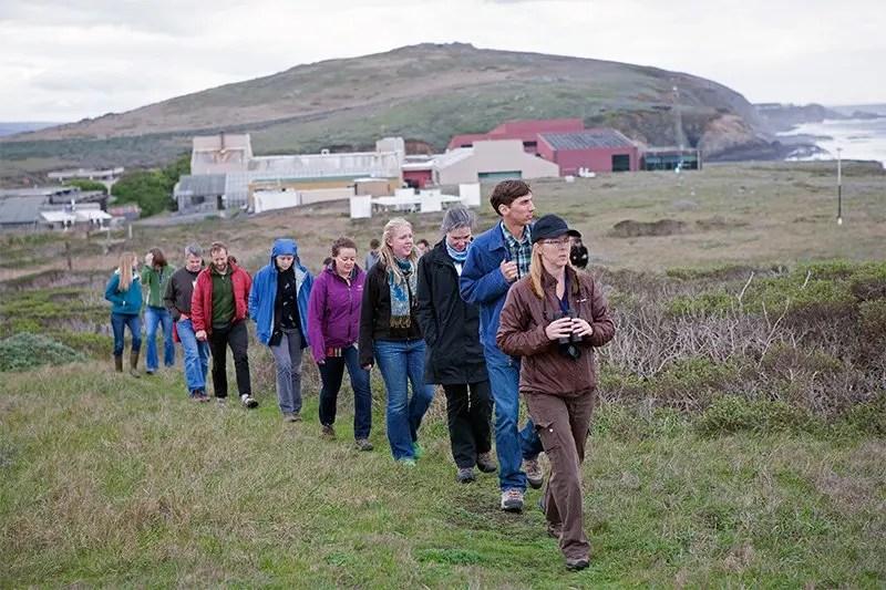 Graduate students touring Bodega Marine Reserve during the 2014 Mathias Symposium.