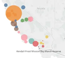 thumbnail of California map with dots of different colors and sizes over reserves