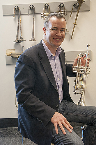 Louis Hanzlik, associate professor of music and trumpet player. (Sean Flynn/UConn File Photo)