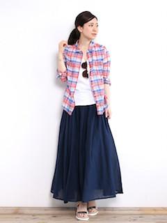 8春、ロング・マキシ丈スカート×チェックシャツ