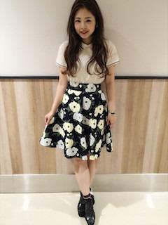 7夏ポロシャツ×花柄フレアスカート